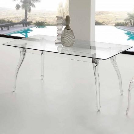 Tavolo da pranzo design moderno con piano in vetro temperato Jinny