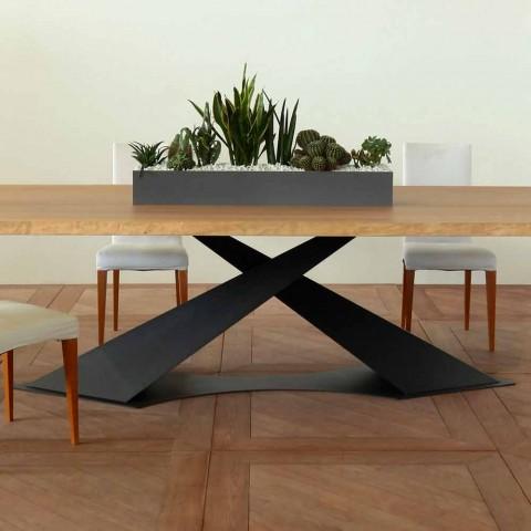Tavolo da pranzo design moderno con piano rovere made in Italy Elliot