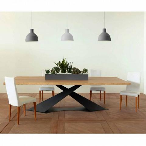 Tavolo da pranzo design moderno con piano rovere made in for Tavolo rovere design