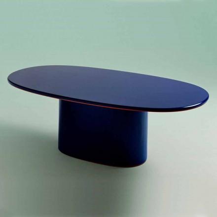 Tavolo da Pranzo Design Moderno Ovale in MDF Blu e Rame Made in Italy - Oku