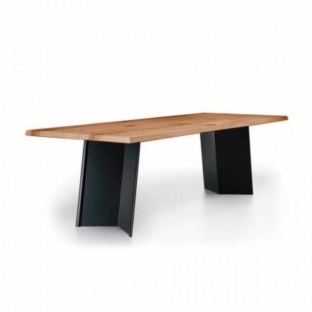 Tavolo da Pranzo di Design con Piano in Rovere Nodato Made in Italy - Simeone