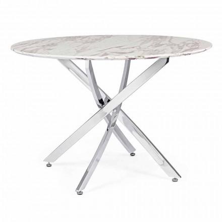 Tavolo da Pranzo di Design con Piano Rotondo in Mdf Homemotion - Gregory