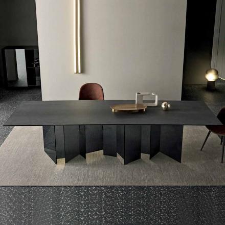 Tavolo da Pranzo di Design in Ceramica e Base Vetro Fumè Made in Italy – Random