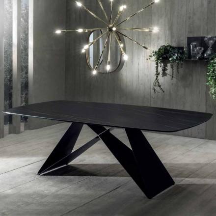 Tavolo da Pranzo di Design in Ceramica Effetto Portoro e Metallo Opaco - Falcon