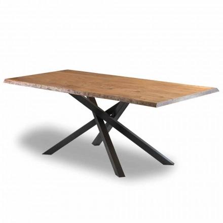 Tavolo da Pranzo di Design in Legno con Base in Acciaio Made in Italy - Licis