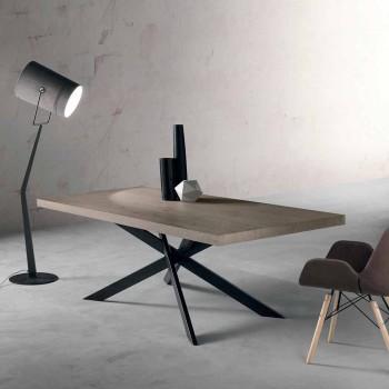 Tavolo da pranzo di design in legno rovere e metallo made Italy Oncino