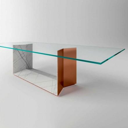 Tavolo da Pranzo in Vetro con Base in Metallo e Marmo Made in Italy - Minera