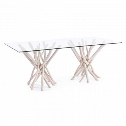 Tavolo da Pranzo di Design in Vetro e Teak Sbiancato Homemotion - Francia