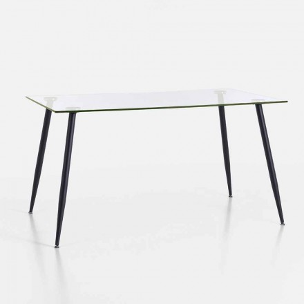 Tavolo da Pranzo di Design Moderno in Vetro Temperato e Metallo Nero – Foulard