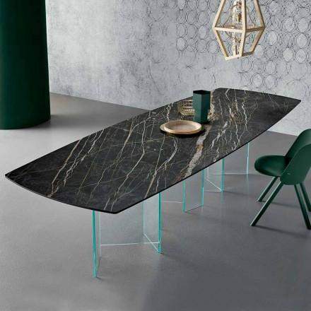 Tavolo da Pranzo in Ceramica e Base in Vetro Extrachiaro Made in Italy – Random