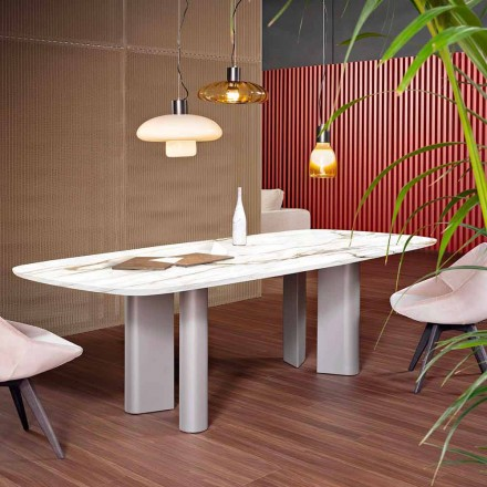 Tavolo da Pranzo in Ceramica e Metallo Made in Italy - Bonaldo Geometric Table