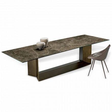 Tavolo da Pranzo in Ceramica Emperador e Metallo Bronzo Made in Italy – Moro