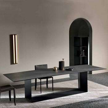 Tavolo da Pranzo in Ceramica Pietra di Savoia Antracite Made in Italy – Moro