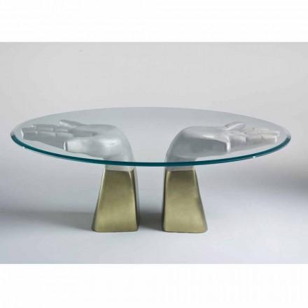 Tavolo da pranzo in legno con piano in vetro, made in Italy,Bartolo