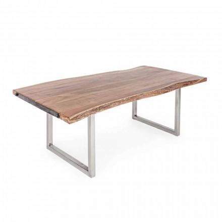 Tavolo da Pranzo in Legno d'Acacia e Acciaio Inossidabile Homemotion - Convo