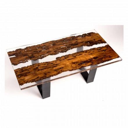 Tavolo da pranzo in legno di briccola e resina fatto a mano Giuda