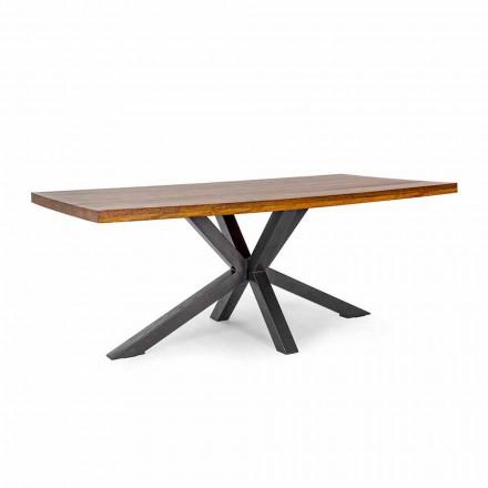 Tavolo da Pranzo in Legno di Mango con Base in Acciaio Homemotion - Marvin
