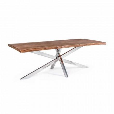 Tavolo da Pranzo in Legno e Acciaio Inossidabile di Design Homemotion - Kaily
