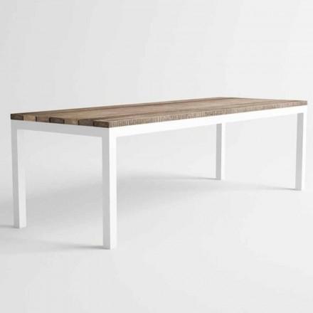 Tavolo da Pranzo in Legno e Alluminio da Esterno di Design Moderno - Gange