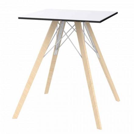 Tavolo da Pranzo in Legno e Hpl Design Quadrato, 4 Pezzi - Faz Wood by Vondom