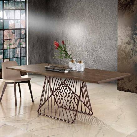 Tavolo da pranzo in legno massellato moderno fatto in Italia, Mitia