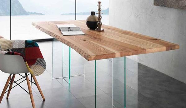 Tavoli da pranzo legno e cristallo: tavolo da pranzo con piano in