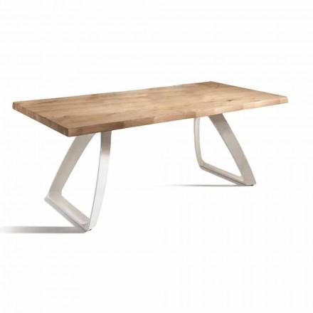 Tavolo da Pranzo in Metallo e Rovere Impiallacciato Made in Italy - Aryssa