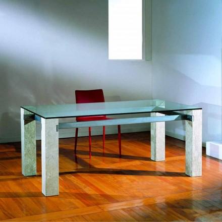 Tavolo scolpito a mano in Pietra di Vicenza e cristallo Ebea