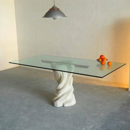 Tavolo in Pietra di Vicenza e cristallo scolpito a mano Urano