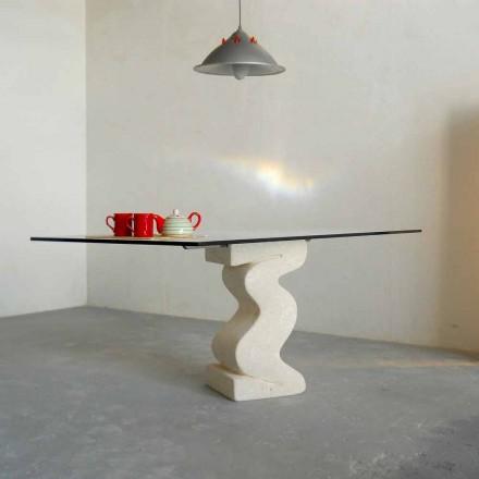 Tavolo in pietra Pietra di Vicenza e cristallo Anteros scolpito a mano