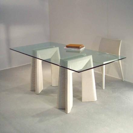 Tavolo in Pietra di Vicenza scolpito a mano Arianna, piano cristallo