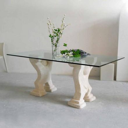 Tavolo in Pietra di Vicenza e cristallo Medusa, scolpito a mano