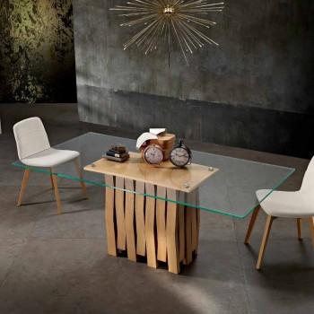 Tavolo da pranzo in vetro e legno massello made in Italy, Egisto