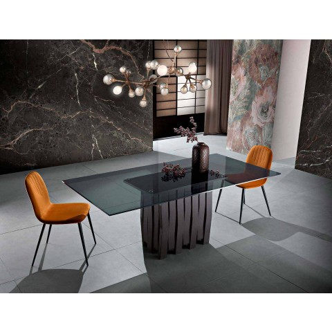 Tavolo in vetro e legno massello moderno made in Italy, Egisto