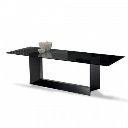Tavolo da Pranzo in Vetro Fumè o Extrachiaro e Metallo Made in Italy – Moro