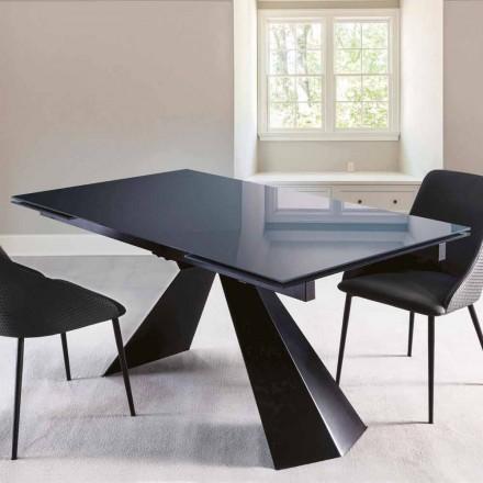 Tavolo da Pranzo in Vetro Lucido e Metallo Allungabile Fino a 250 cm - Ezechiele