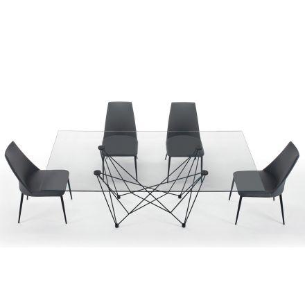 Tavolo da Pranzo in Vetro Temperato e Acciaio Nero Made in Italy – Ezzellino