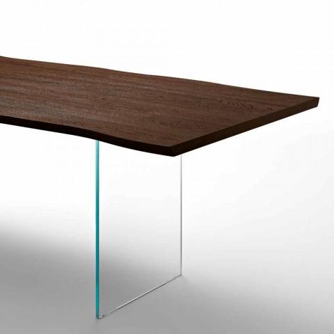 Tavolo Da Pranzo Moderno 100x200cm In Legno Con Gambe In Vetro Flora