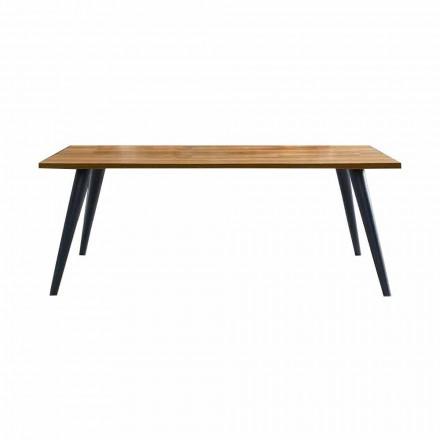 Tavolo da Pranzo Moderno con Piano e Base in Legno Made in Italy - Motta