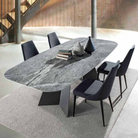 Tavolo da Pranzo Moderno con Piano in Gres Porcellanato - Meduno
