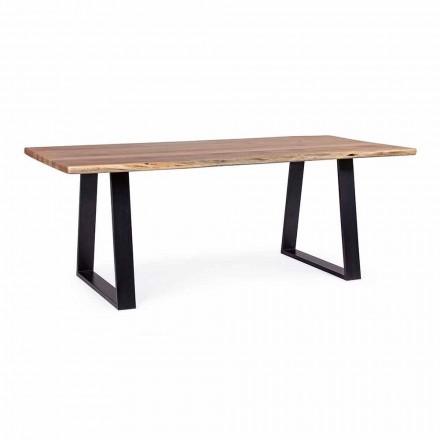 Tavolo da Pranzo Industrial con Piano in Legno di Acacia Homemotion - Vermont