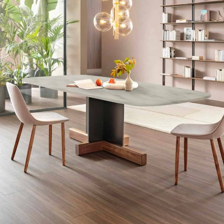 Tavolo da Pranzo Moderno con Piano in Marmo Made in Italy - Bonaldo Cross table