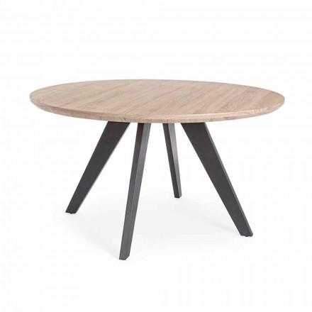Tavolo da Pranzo Moderno con Piano Rotondo in Mdf Rivestito Homemotion - Varna