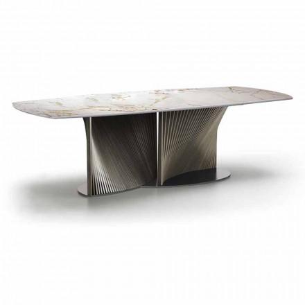 Tavolo da Pranzo di Lusso in Gres e Legno di Frassino Made in Italy - Croma