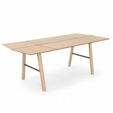 Tavolo da Pranzo Moderno in Legno di Frassino con Dettagli Neri o Oro - Andria