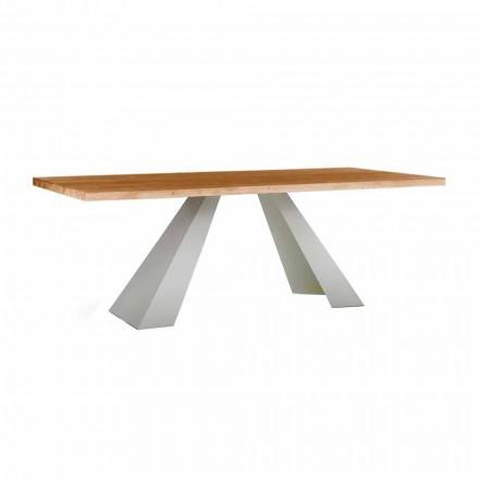 Tavolo da Pranzo in Legno e Metallo Bianco, Alta Qualità Made in Italy - Miuca