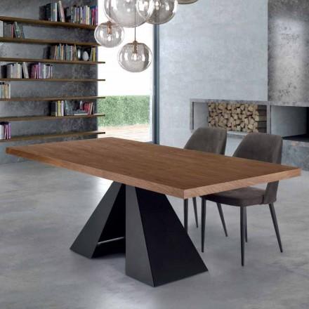 Tavolo da Pranzo Moderno in Legno e Acciaio Made Italy, 10 Posti – Dalmata