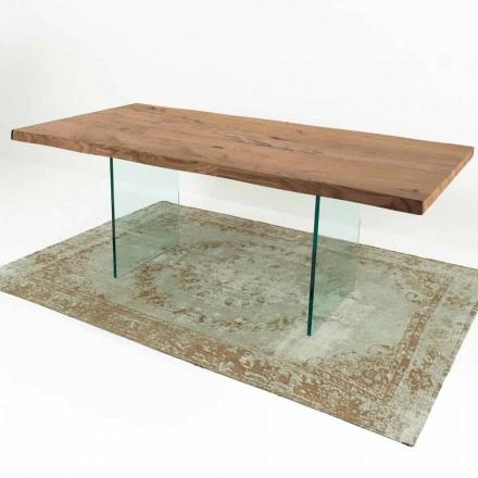 Tavolo da Pranzo Moderno in Legno Impiallacciato e Vetro Made in Italy – Strappo