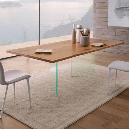 Tavolo da Pranzo in Rovere Nodato e Vetro Alta Qualità Made in Italy - Sibillo