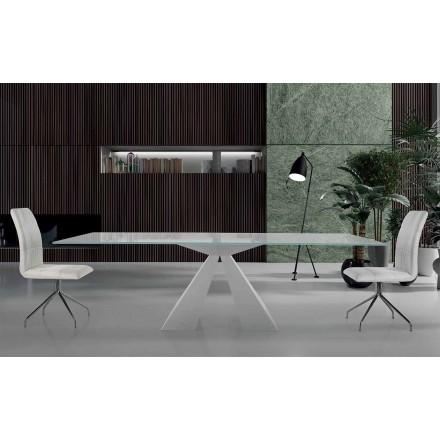 Tavolo da Pranzo Moderno in Vetro e Acciaio Bianco Made in Italy – Dalmata